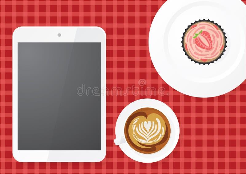 Tabuleta de Digitas com café e queque fotos de stock royalty free
