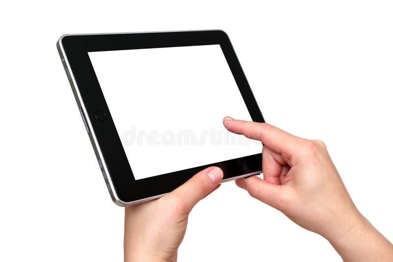 Tabuleta de Digitas nas mãos imagem de stock