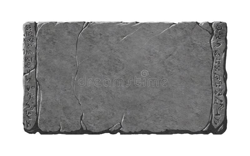 Tabuleta de pedra com estrangeiro ou símbolos da fantasia/runas ilustração stock