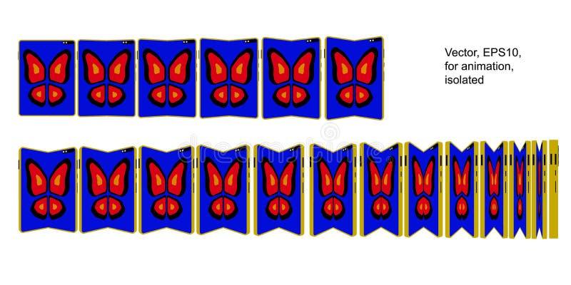 Tabuleta de Smartphone com a tela dobrável com borboleta ilustração stock