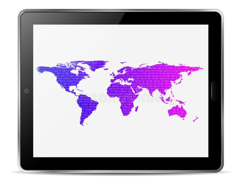Tabuleta do computador com o mapa do mundo ilustração do vetor