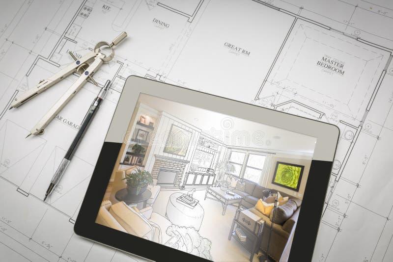 Tabuleta do computador que mostra a ilustração em planos da casa, lápis da sala imagem de stock royalty free