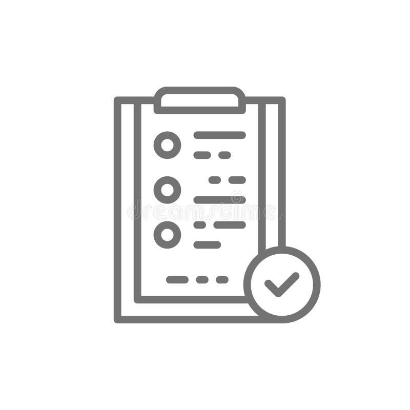 Tabuleta do dobrador com sinal da marca de verificação, controle da qualidade, linha ícone da verificação ilustração royalty free