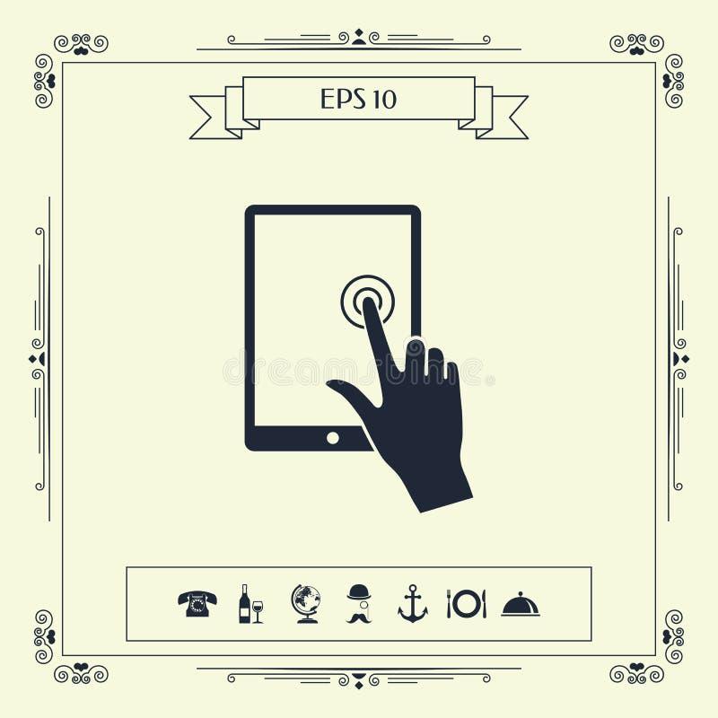 Tabuleta do tela táctil com mão do clique ilustração do vetor
