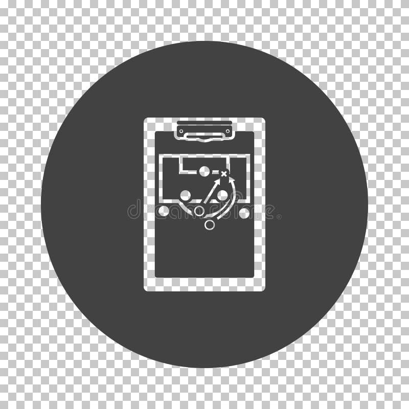 Tabuleta do treinador do futebol com esquema do ícone do jogo ilustração do vetor