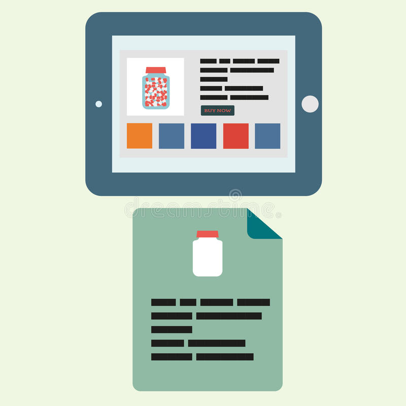 Tabuleta em um estado horizontal com uma farmácia aberta do Internet e em um folheto com esta medicina no estilo liso ilustração royalty free
