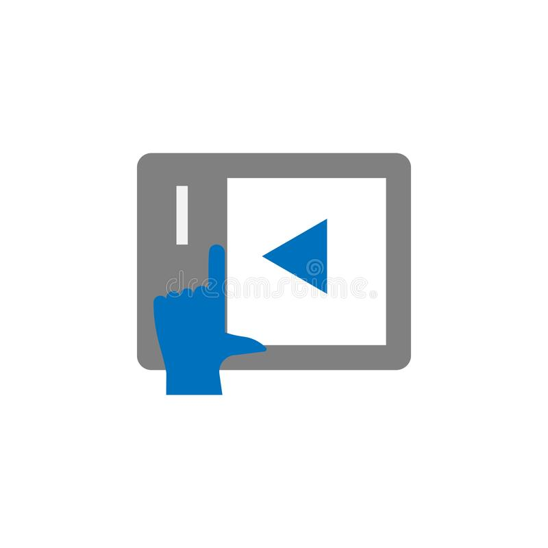 Tabuleta, jogo e ícone tutorial Elemento do ícone da educação para apps móveis do conceito e da Web Tabuleta detalhada, jogo e íc ilustração stock