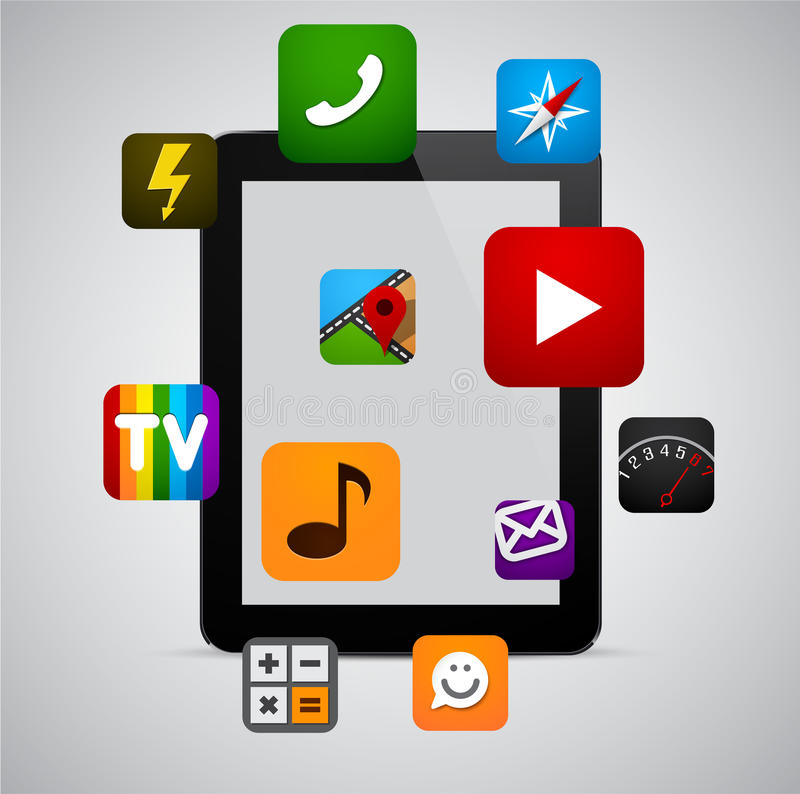 Tabuleta moderna com apps. ilustração stock