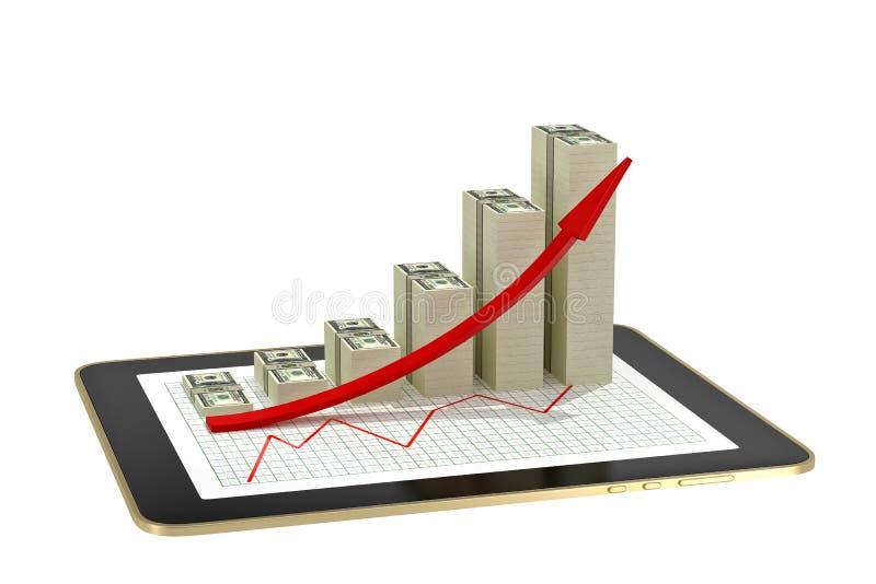 Tabuleta - os gráficos de barra do dólar que mostram o lucro crescem ilustração royalty free