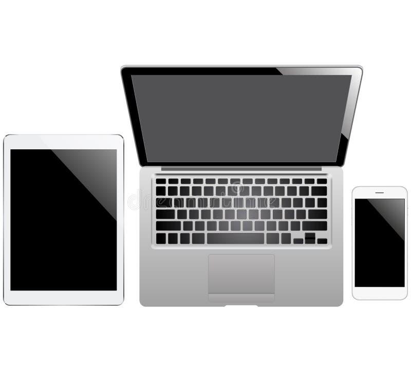 Tabuleta, portátil e smartphone no fundo branco fotos de stock royalty free