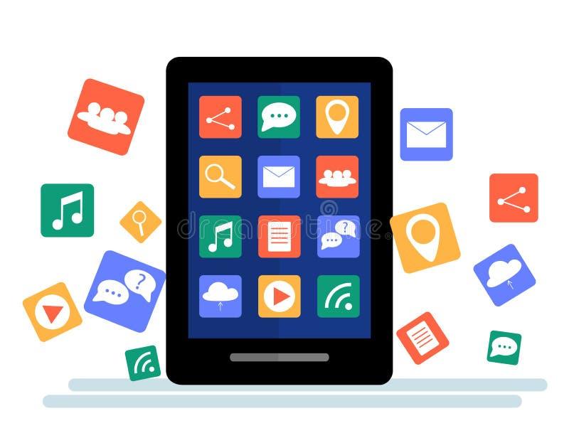 Tabuleta preta com a nuvem dos ícones da aplicação e dos ícones de Apps que voam em torno deles, isolada no fundo branco ilustração stock