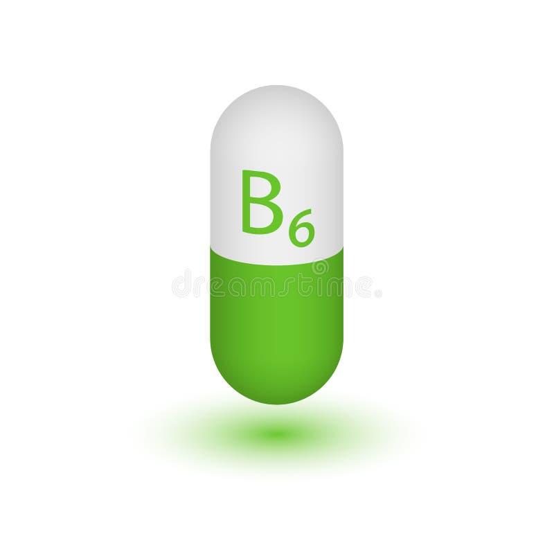 Tabuletas do ícone da vitamina B6 ilustração stock