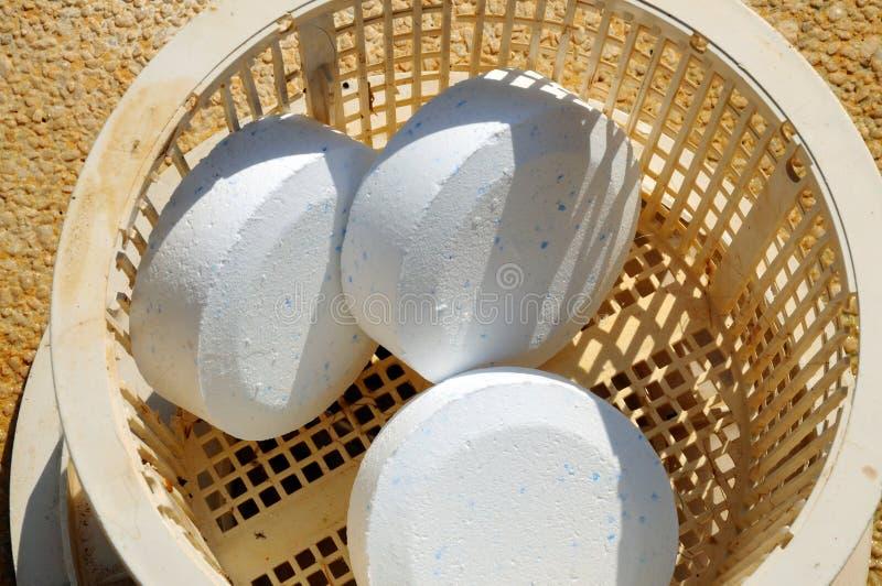 Tabuletas do cloro na cesta plástica. foto de stock royalty free