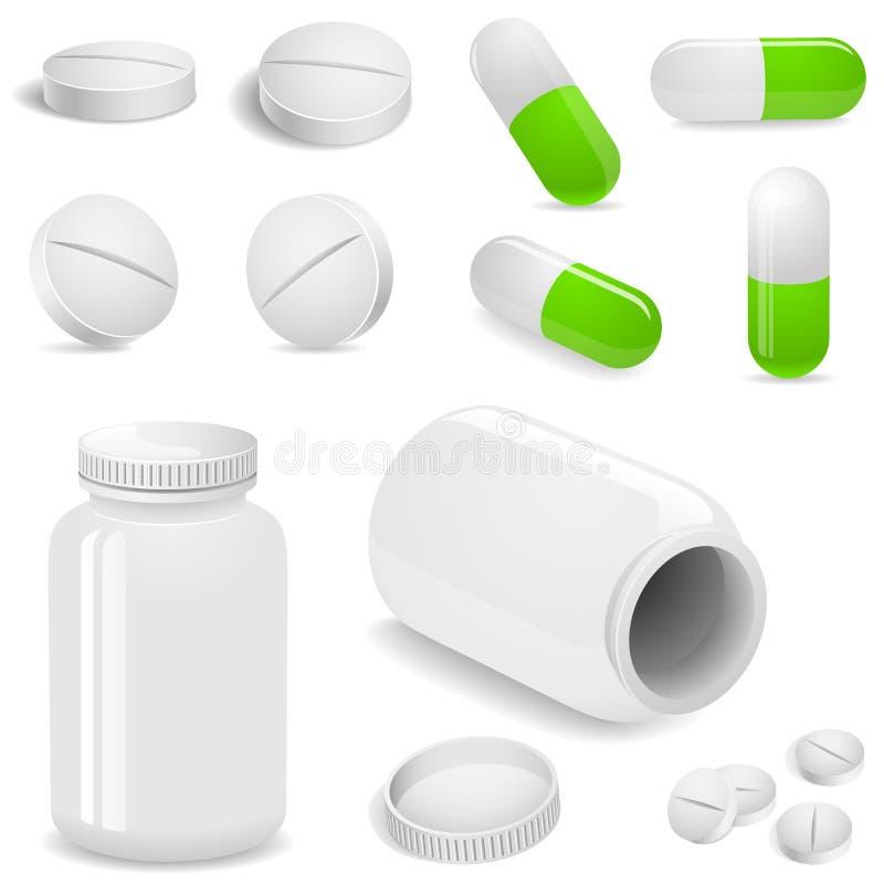 Tabuletas e comprimidos ilustração stock