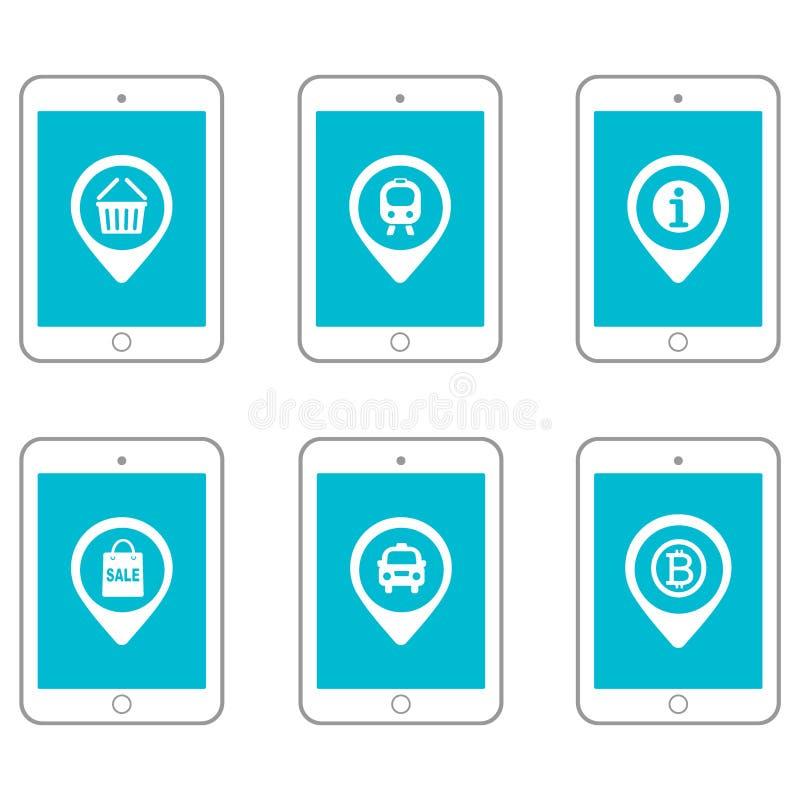 Tabuletas e dispositivos ajustados do ícone com exposição do tela táctil Ilustração ajustada do lugar ilustração stock