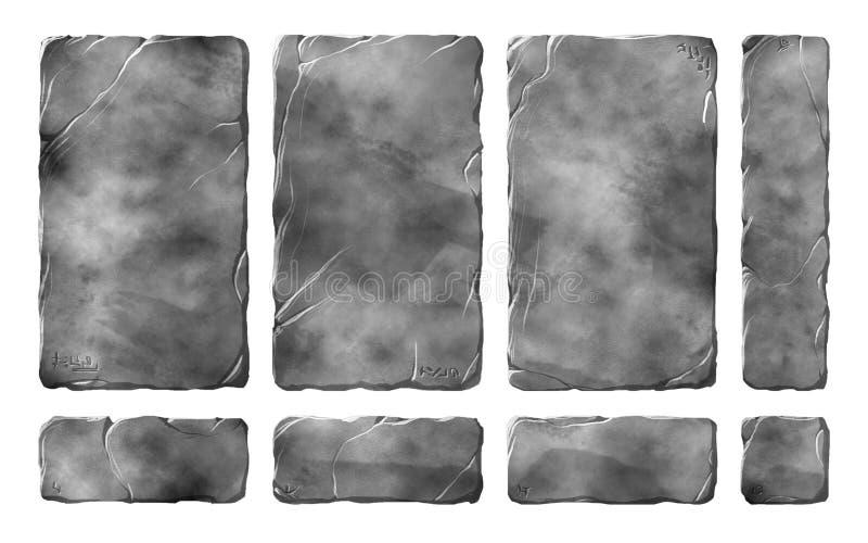 Tabuletas, painéis e botões de pedra realísticos ilustração do vetor