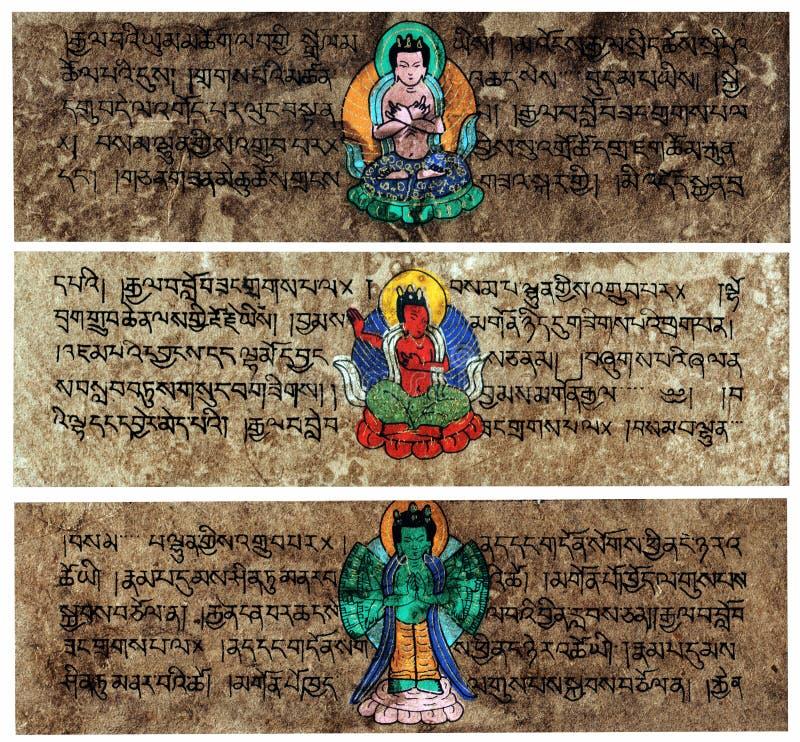 Tabuletas Sanskrit tibetanas da oração fotografia de stock