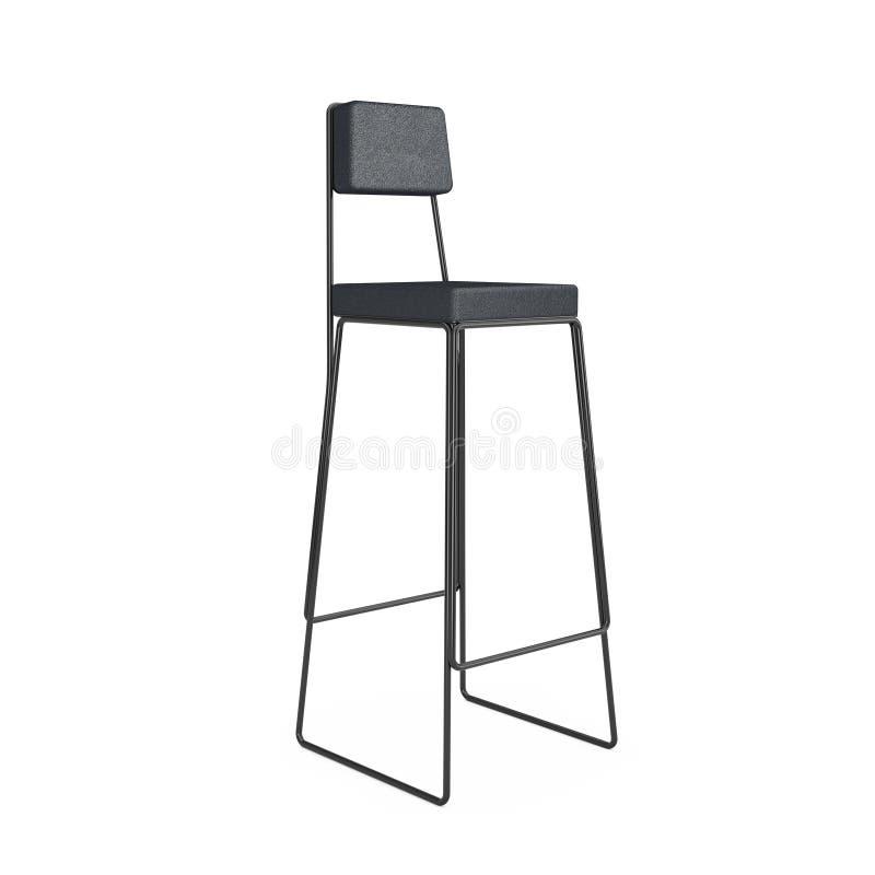 Taburete de bar o silla negro alto moderno representaci?n 3d stock de ilustración