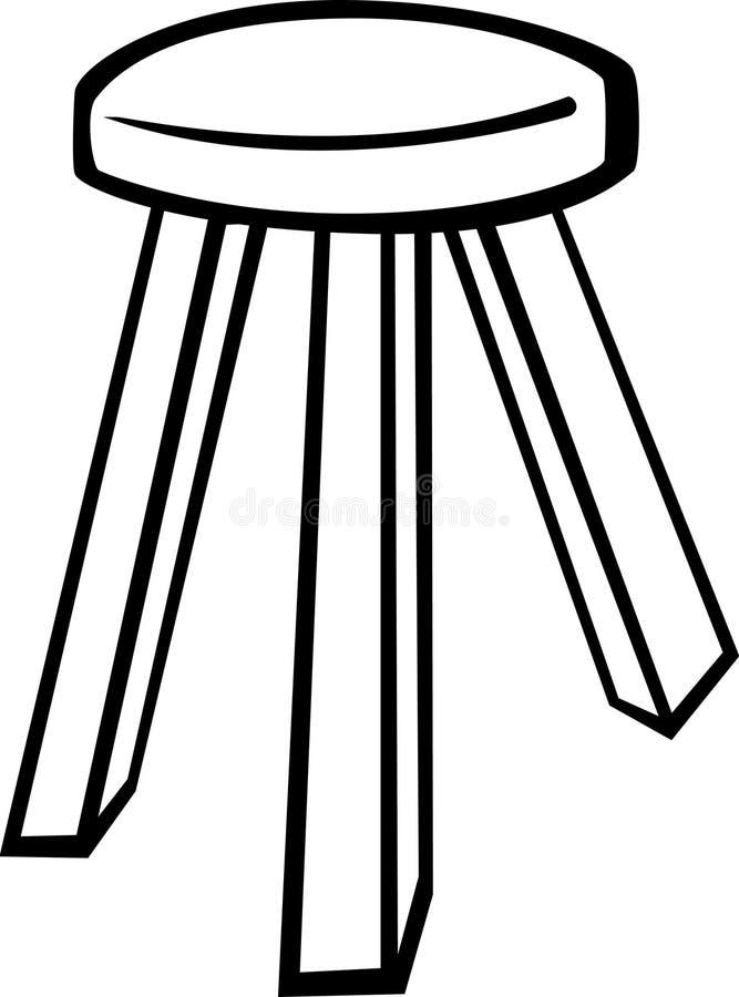 Taburete de madera stock de ilustración