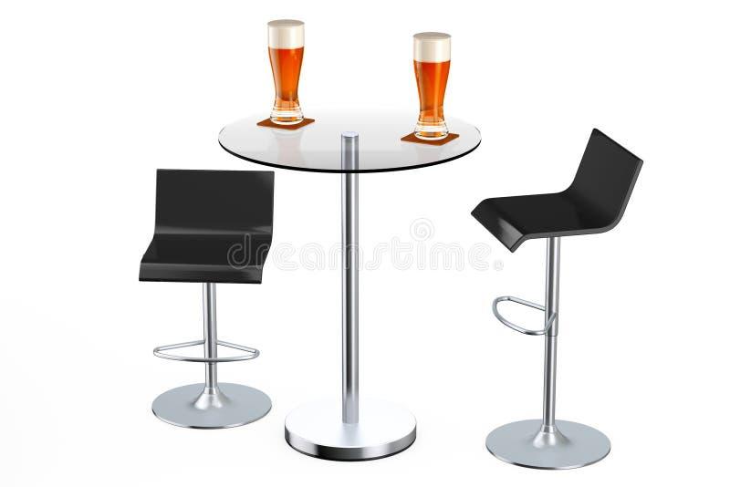 Taburetes negros del vintage de la barra con la tabla y los vidrios de cerveza ilustración del vector
