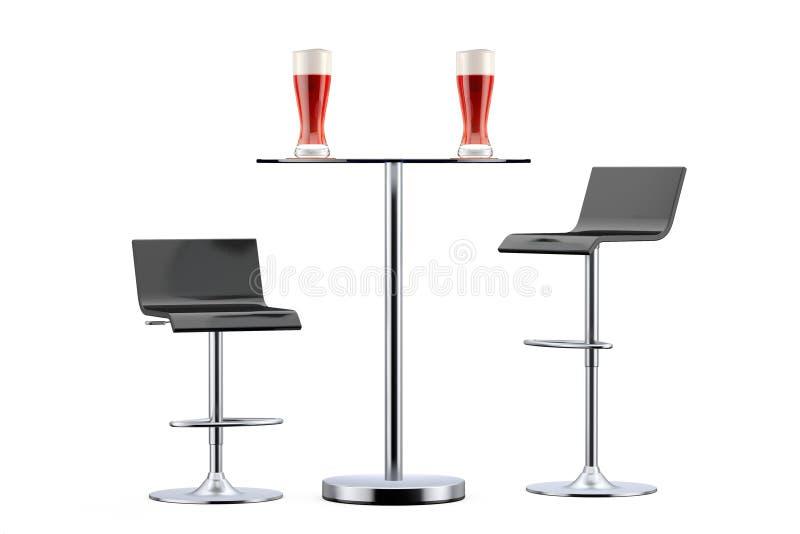 Taburetes negros del vintage de la barra con la tabla y los vidrios de cerveza stock de ilustración