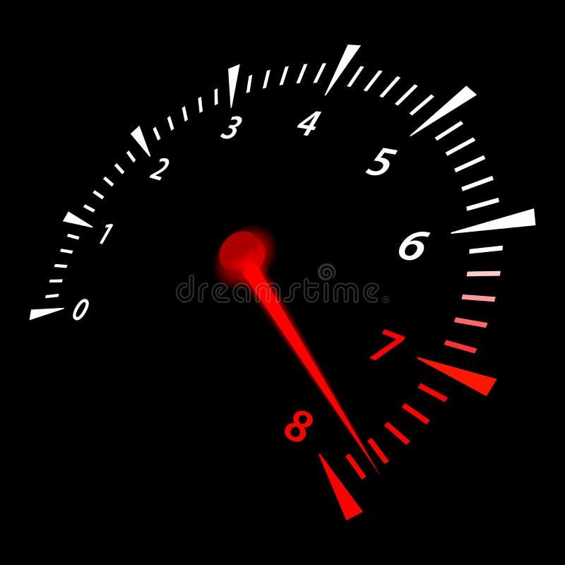 Tacómetro realista del coche Ejemplo del vector que indica el límite ilustración del vector