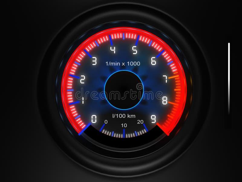 Tacômetro do painel do carro ilustração stock