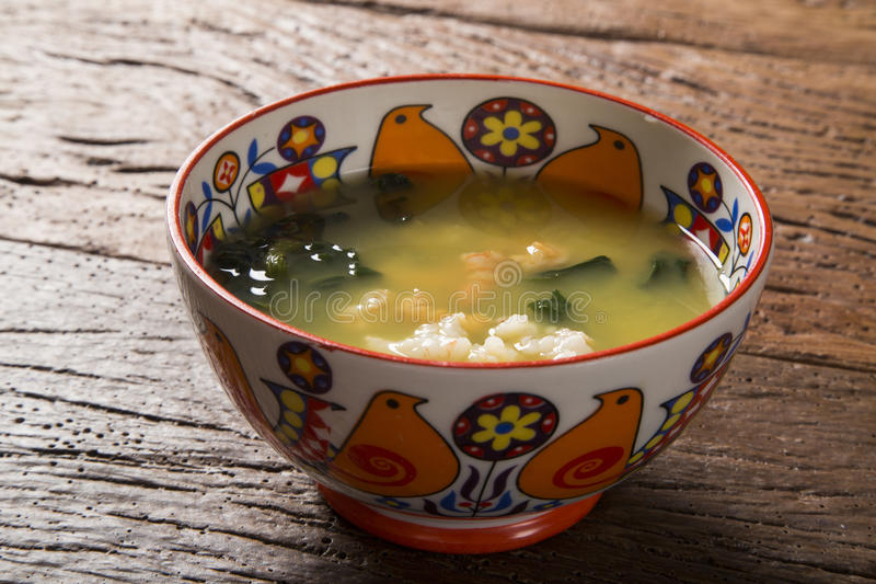 Tacaca is a specialty cuisine Amazon. Served in a natural bowl,. Tucupi boiling is poured over a gum made from tapioca flour. It adds a generous portion jambu royalty free stock images