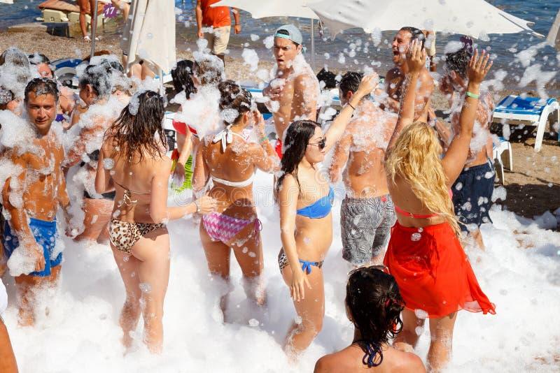 Tacchino di marmaris del partito di estate della spiaggia della schiuma immagini stock libere da diritti