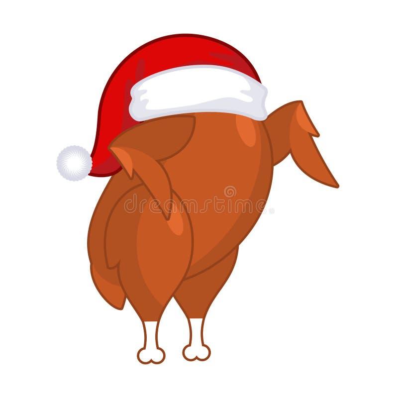 Tacchino di Natale in cappuccio di Santa Claus Gallinacei dell'arrosto sul piatto fritto illustrazione di stock