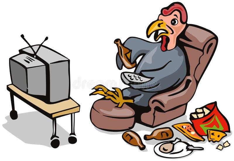 Tacchino pigro che guarda TV