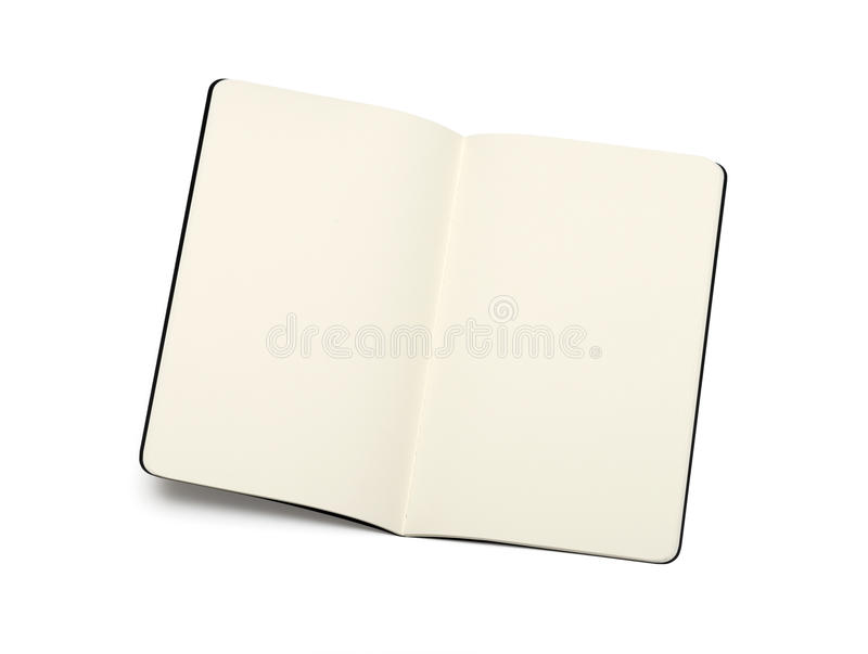 Taccuini in bianco aperti di moleskine immagine stock