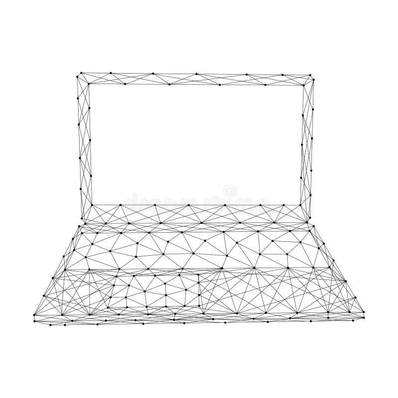 Taccuino aperto del computer portatile portatile dalle linee e dai punti neri poligonali futuristici dell'estratto Illustrazione  illustrazione di stock