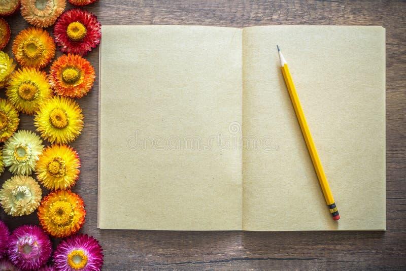 Taccuino aperto della carta kraft della pagina in bianco sulla tavola di legno con la matita fotografia stock libera da diritti