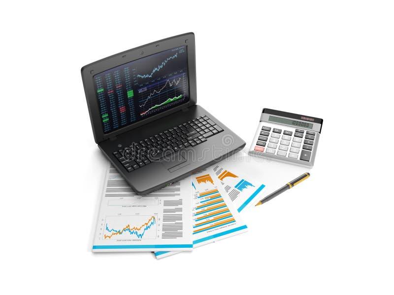 Taccuino, calcolatore e commercio illustrazione di stock