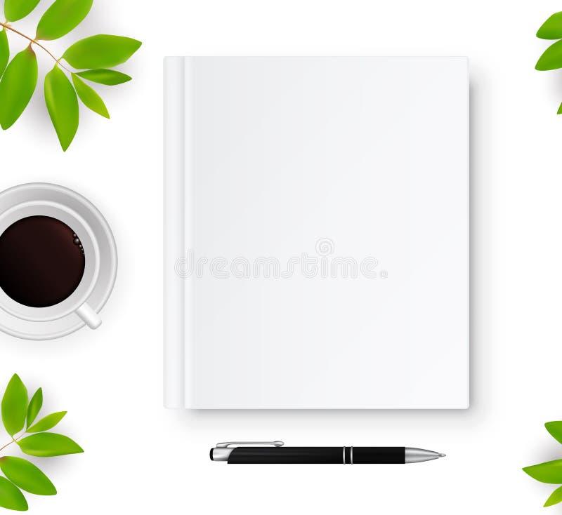 Taccuino con la copertura in bianco bianca royalty illustrazione gratis
