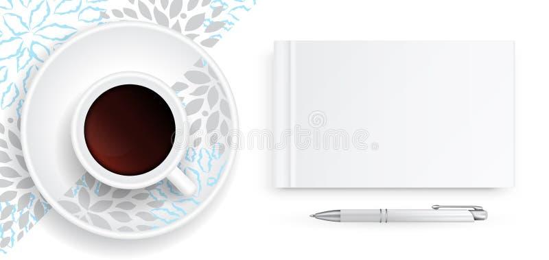 Taccuino con la copertura in bianco bianca illustrazione di stock