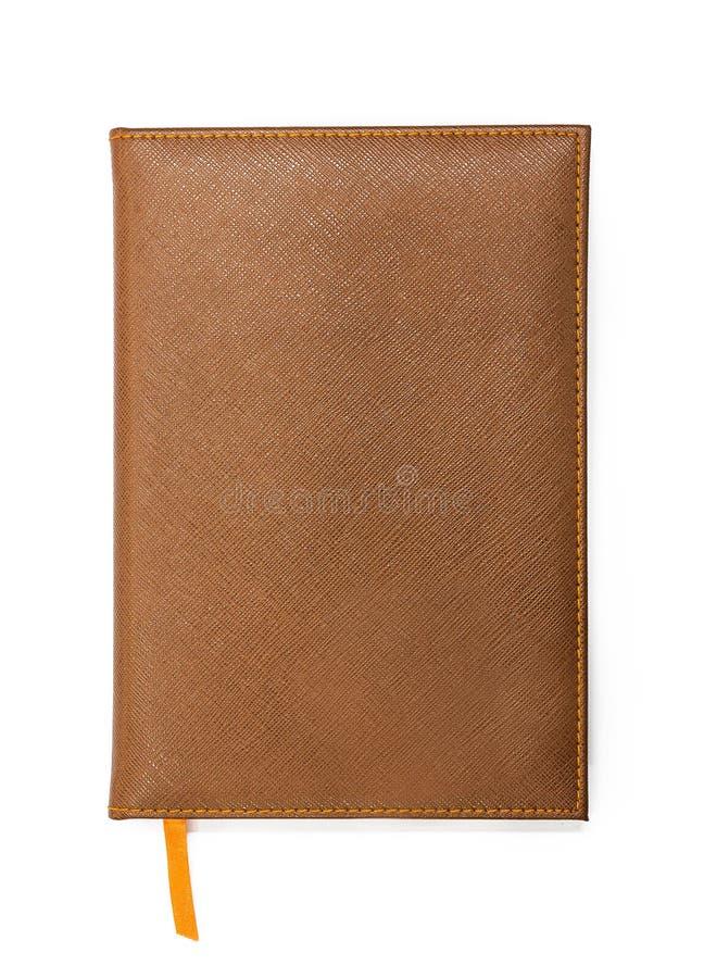 Taccuino con la copertura di cuoio marrone fotografia stock