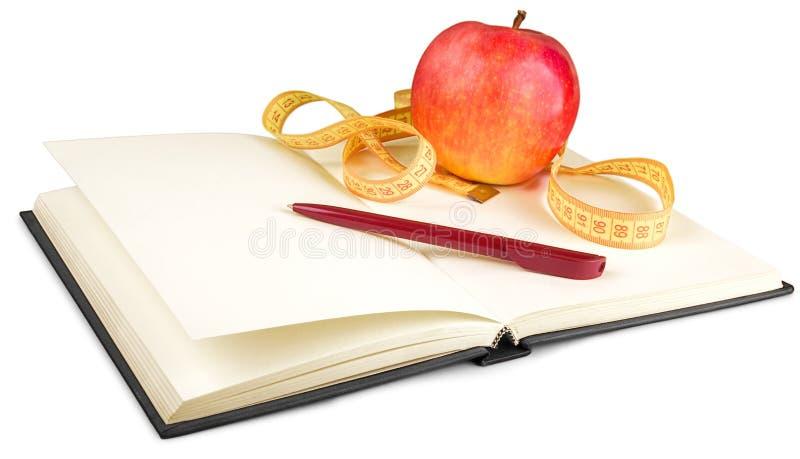 Download Taccuino E Penna Con La Mela E Nastro Di Misurazione Per Immagine Stock - Immagine di determinazione, mela: 117975667