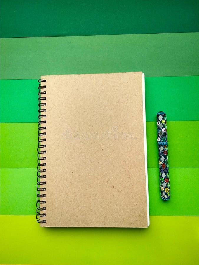 Taccuino e penna sul fondo della carta per istruzione fotografia stock
