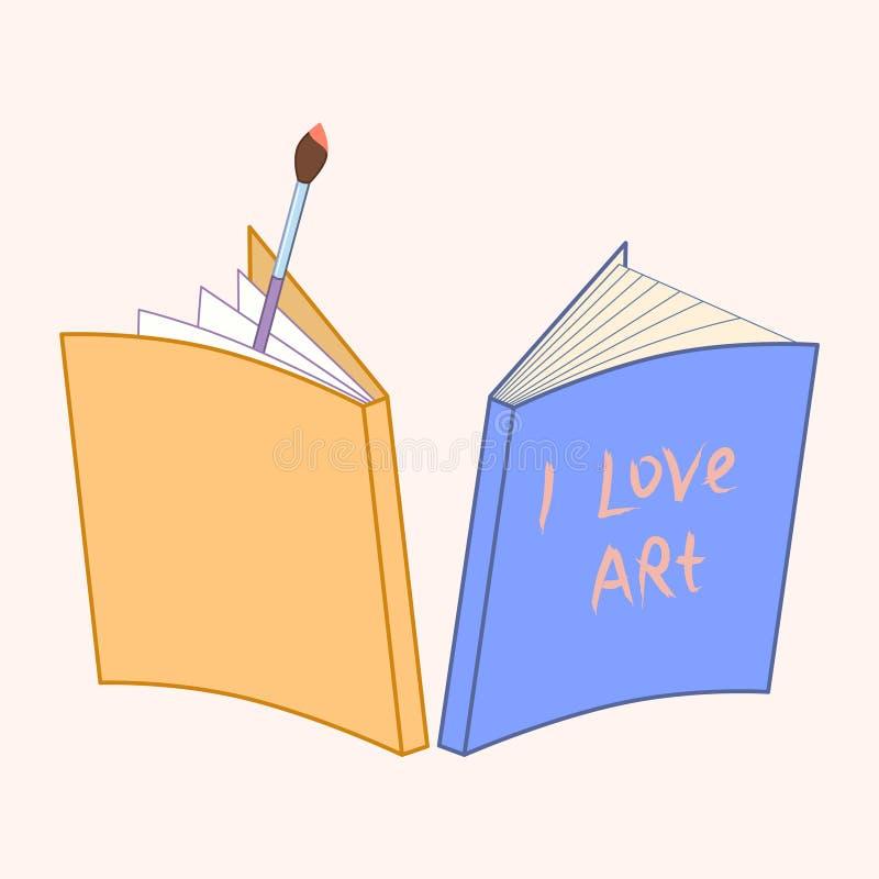 Taccuino e pennello arte di amore dell'iscrizione scritta mano I Illustrazione di vettore illustrazione di stock