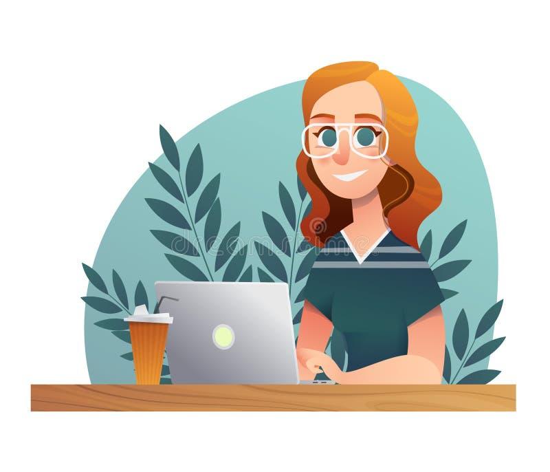 Taccuino felice di studio della ragazza Carattere di vettore della scuola e dell'università di schizzo sul contesto bianco Proget illustrazione di stock