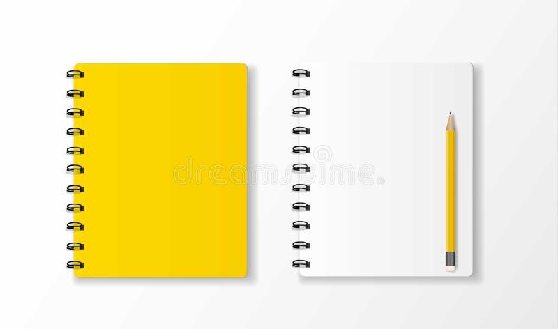 Taccuino giallo e vista superiore della matita gialla sulla parte posteriore bianca dello scrittorio illustrazione vettoriale