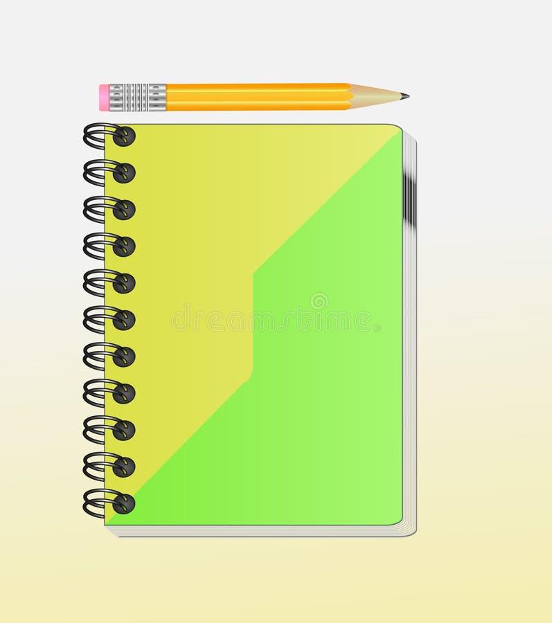 Taccuino per il vostra testo o immagine e una matita regolare immagine stock libera da diritti