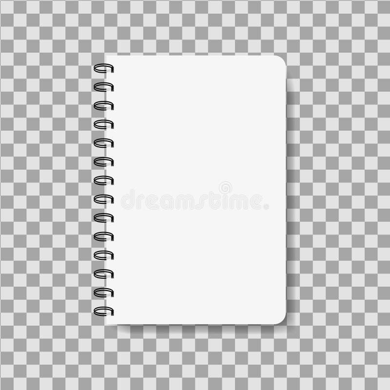 Taccuino realistico nello stile del modello Blocco note in bianco con la coclea Modello del blocco note orizzontale vuoto Vettore illustrazione vettoriale