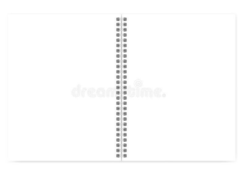 Taccuino a spirale di dimensione della lettera del cavo bianco vuoto aperto con il chiaro PAG illustrazione vettoriale