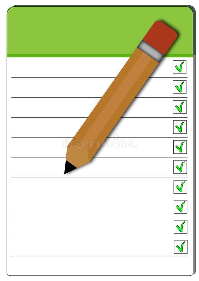 Taccuino verde con la matita immagini stock