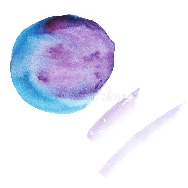 Tache abstraite et traçages lilas de violette au fond bleu d'aquarelle image stock