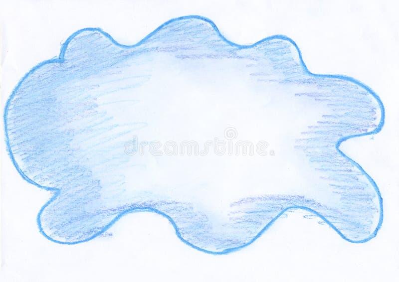 Tache bleu-clair sur un fond blanc, un nuage dessiné au crayon illustration stock