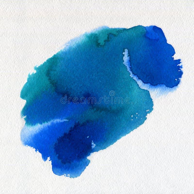 Tache bleue tirée par la main de peinture d'art d'aquarelle abstraite d'aquarelle sur le fond blanc illustration libre de droits